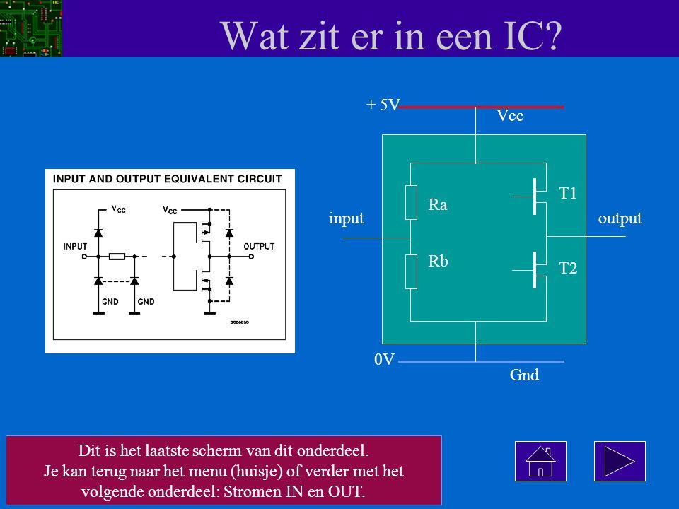 Wat zit er in een IC? Vcc input Ra Rb T1 T2 Gnd output + 5V 0V Dit is het laatste scherm van dit onderdeel. Je kan terug naar het menu (huisje) of ver
