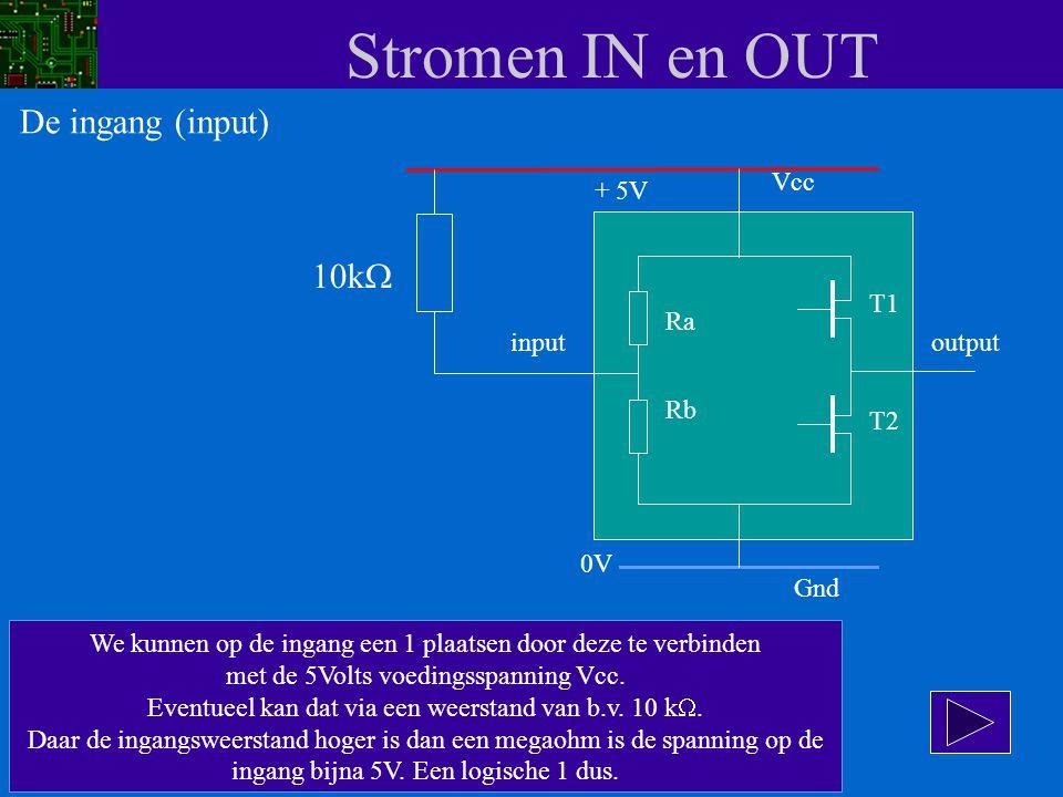 Stromen IN en OUT Vcc input Ra Rb T1 T2 Gnd output + 5V 0V We kunnen op de ingang een 1 plaatsen door deze te verbinden met de 5Volts voedingsspanning