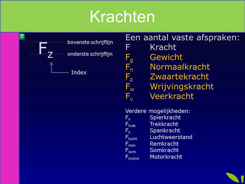 Index FzFz onderste schrijflijn bovenste schrijflijn Index Een aantal vaste afspraken: FKracht F g Gewicht F n Normaalkracht F z Zwaartekracht F w Wri