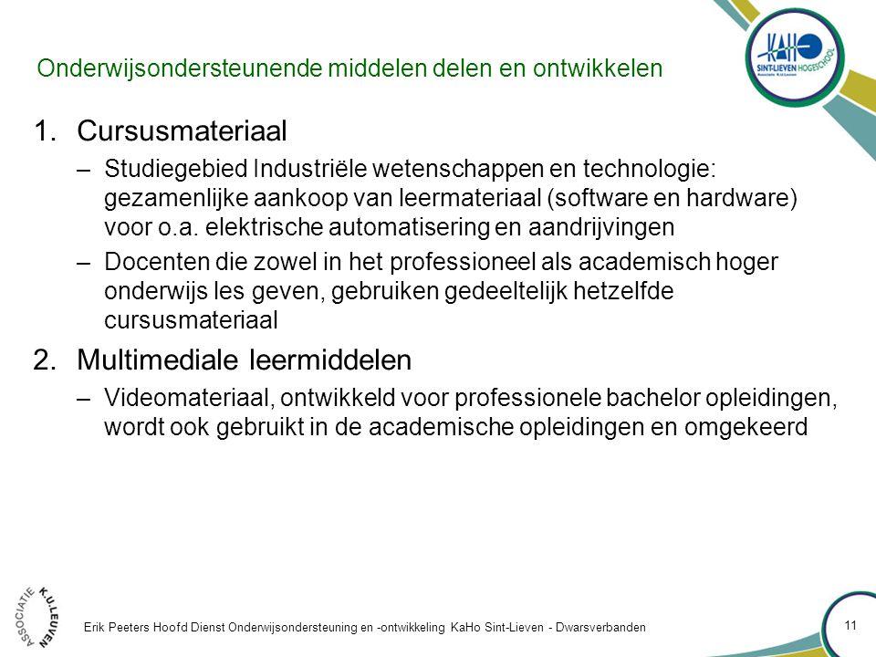 Onderwijsondersteunende middelen delen en ontwikkelen 1.Cursusmateriaal –Studiegebied Industriële wetenschappen en technologie: gezamenlijke aankoop van leermateriaal (software en hardware) voor o.a.