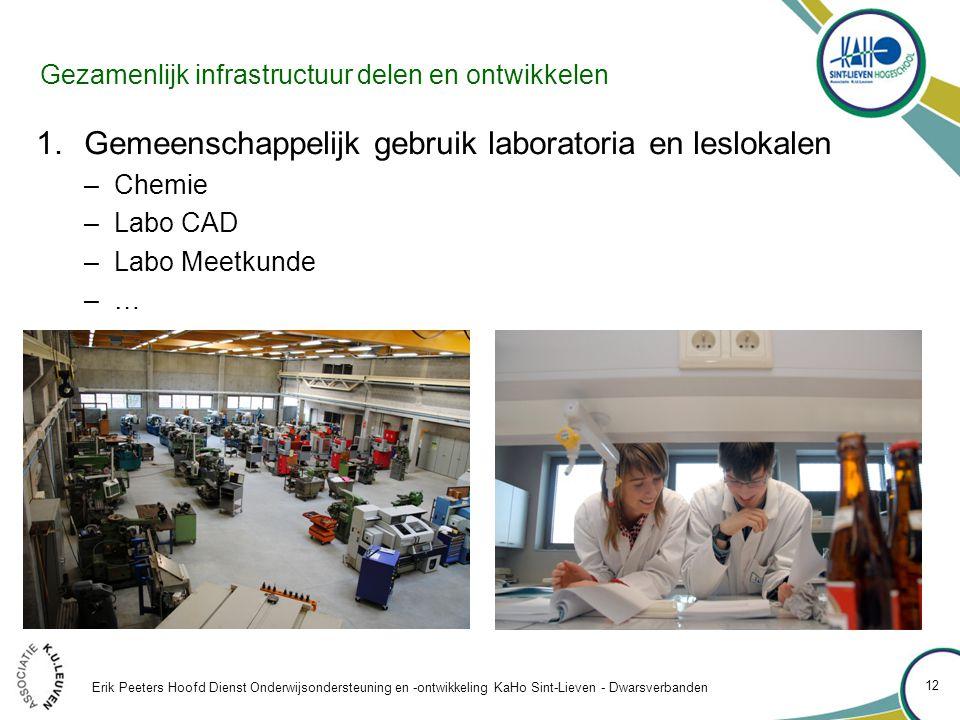 Gezamenlijk infrastructuur delen en ontwikkelen 1.Gemeenschappelijk gebruik laboratoria en leslokalen –Chemie –Labo CAD –Labo Meetkunde –…–… Erik Peeters Hoofd Dienst Onderwijsondersteuning en -ontwikkeling KaHo Sint-Lieven - Dwarsverbanden 12