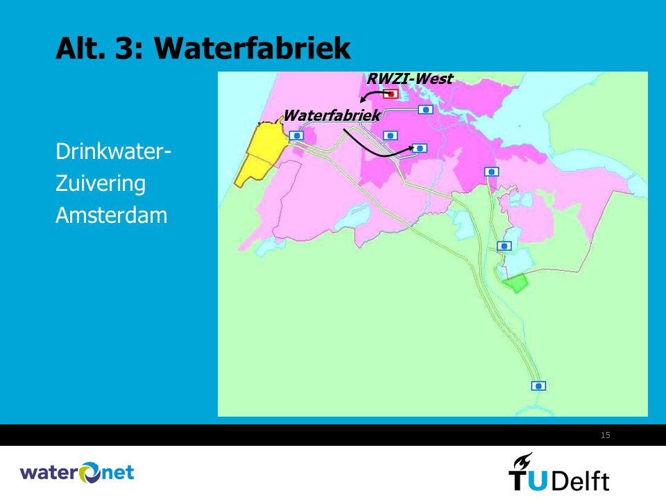 15 Alt. 3: Waterfabriek Drinkwater- Zuivering Amsterdam RWZI-West Waterfabriek