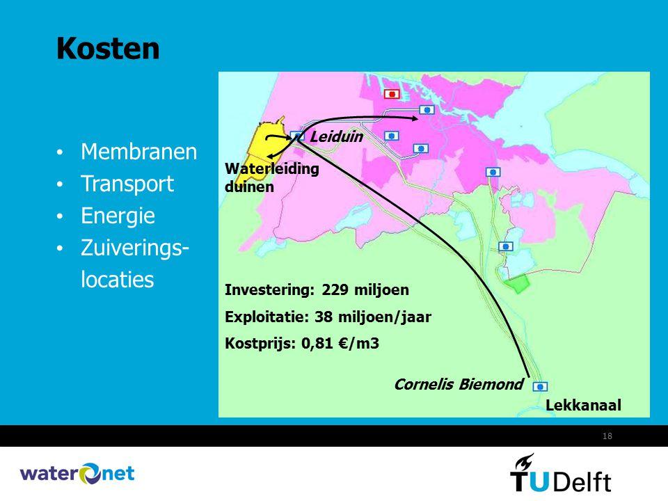 18 Kosten Lekkanaal Membranen Transport Energie Zuiverings- locaties Cornelis Biemond Leiduin Waterleiding duinen Investering: 229 miljoen Exploitatie