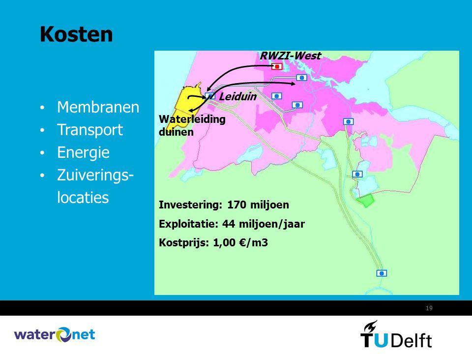 19 Kosten Membranen Transport Energie Zuiverings- locaties Leiduin Waterleiding duinen RWZI-West Investering: 170 miljoen Exploitatie: 44 miljoen/jaar