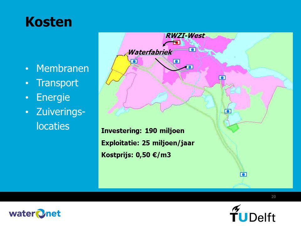 20 Kosten Membranen Transport Energie Zuiverings- locaties RWZI-West Waterfabriek Investering: 190 miljoen Exploitatie: 25 miljoen/jaar Kostprijs: 0,5