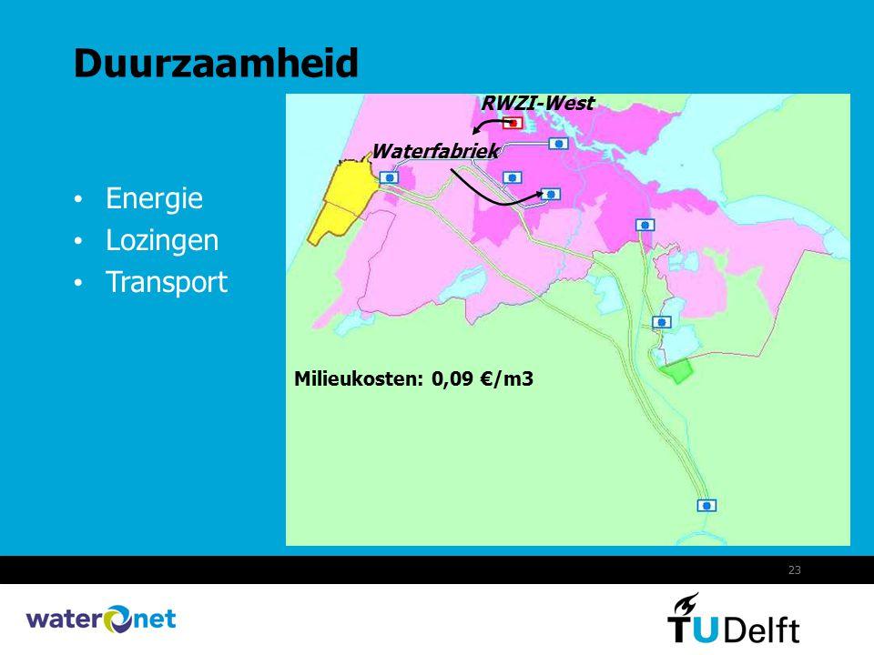 23 Duurzaamheid Energie Lozingen Transport RWZI-West Waterfabriek Milieukosten: 0,09 €/m3