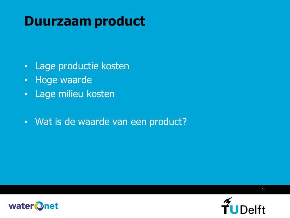 24 Duurzaam product Lage productie kosten Hoge waarde Lage milieu kosten Wat is de waarde van een product?