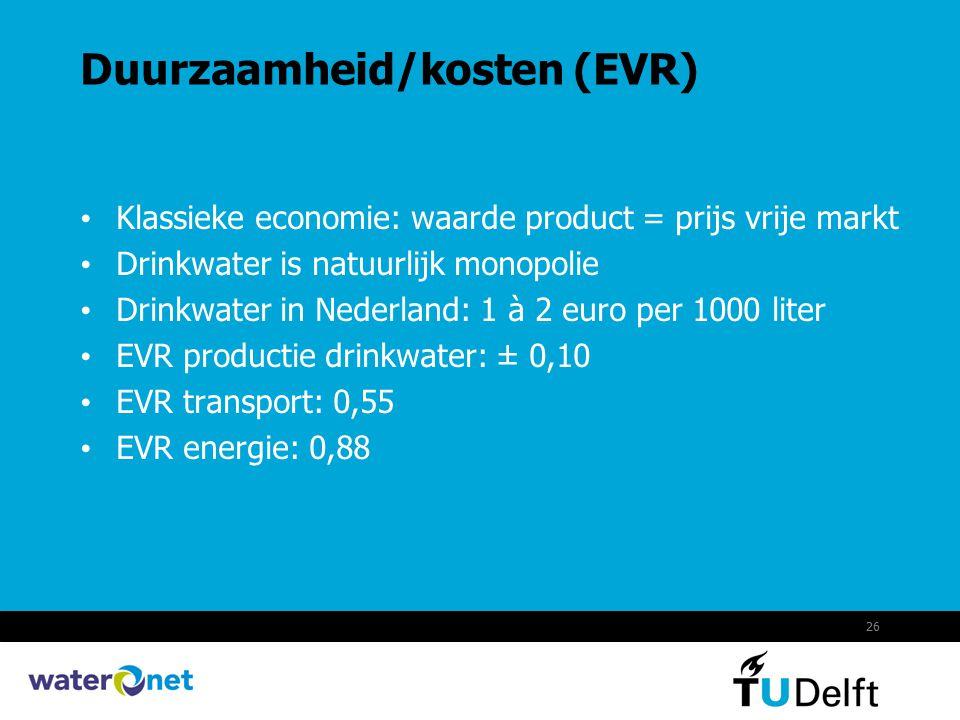 26 Duurzaamheid/kosten (EVR) Klassieke economie: waarde product = prijs vrije markt Drinkwater is natuurlijk monopolie Drinkwater in Nederland: 1 à 2