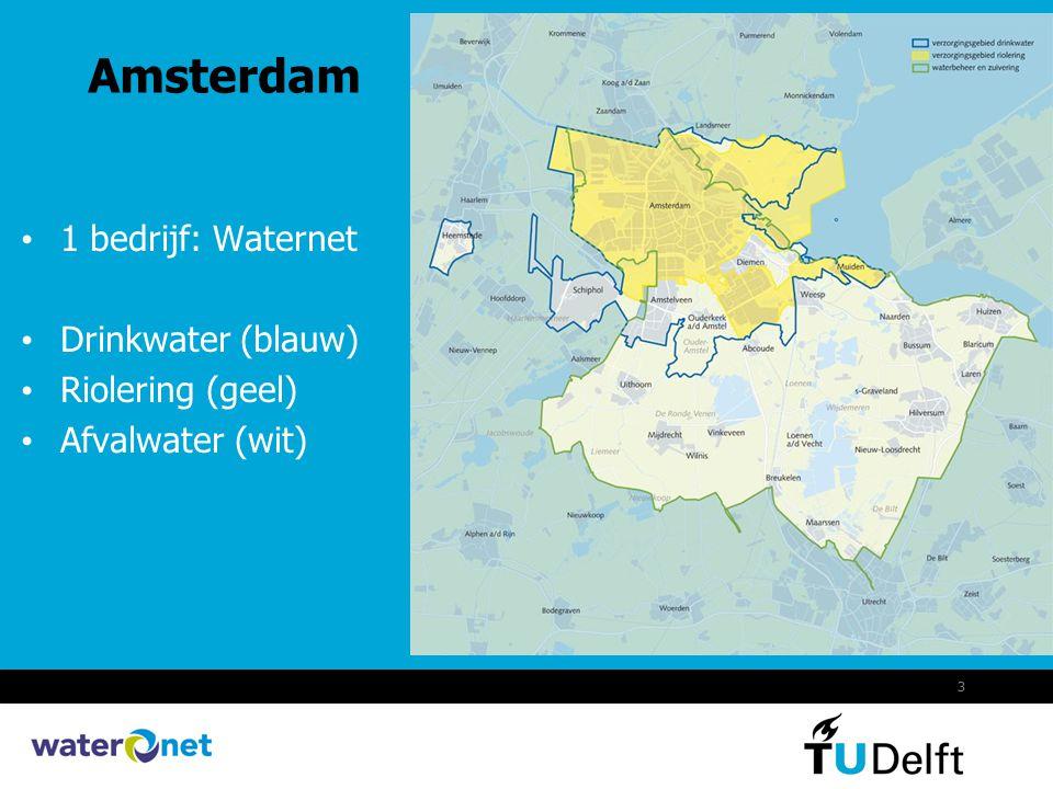 3 Amsterdam 1 bedrijf: Waternet Drinkwater (blauw) Riolering (geel) Afvalwater (wit)