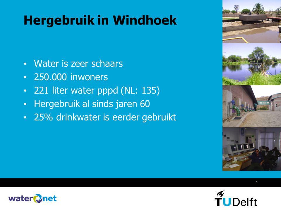 9 Hergebruik in Windhoek Water is zeer schaars 250.000 inwoners 221 liter water pppd (NL: 135) Hergebruik al sinds jaren 60 25% drinkwater is eerder g
