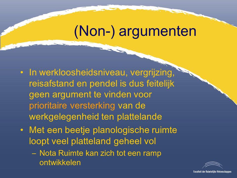 (Non-) argumenten In werkloosheidsniveau, vergrijzing, reisafstand en pendel is dus feitelijk geen argument te vinden voor prioritaire versterking van