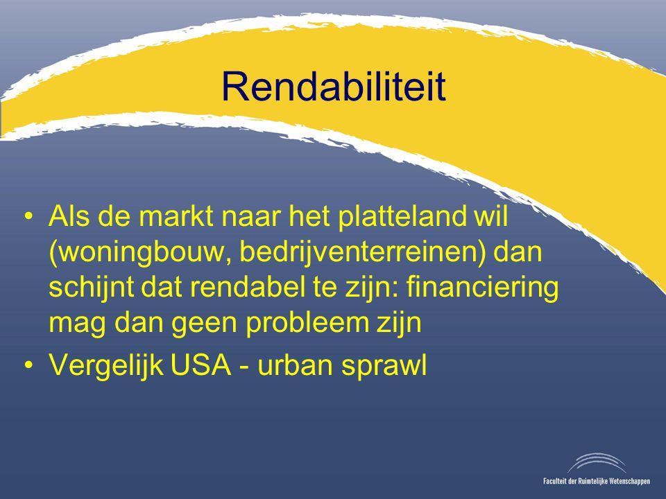 Rendabiliteit Als de markt naar het platteland wil (woningbouw, bedrijventerreinen) dan schijnt dat rendabel te zijn: financiering mag dan geen probleem zijn Vergelijk USA - urban sprawl