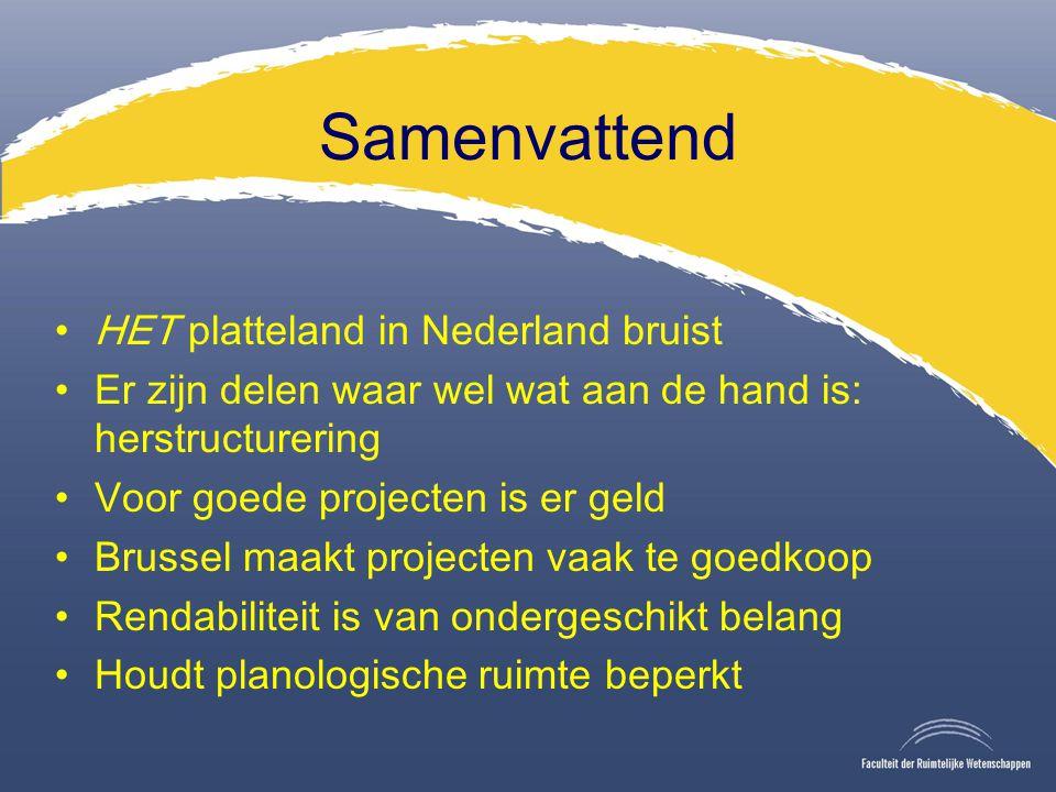 Samenvattend HET platteland in Nederland bruist Er zijn delen waar wel wat aan de hand is: herstructurering Voor goede projecten is er geld Brussel maakt projecten vaak te goedkoop Rendabiliteit is van ondergeschikt belang Houdt planologische ruimte beperkt