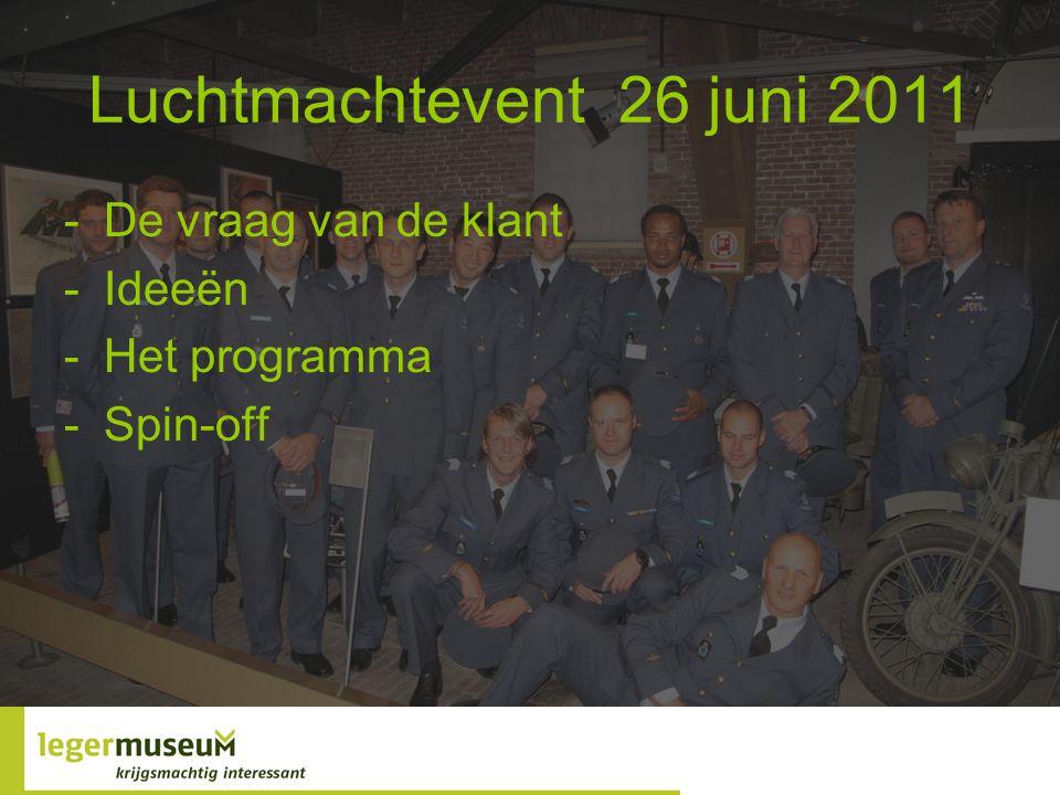 Luchtmachtevent 26 juni 2011 -De vraag van de klant -Ideeën -Het programma -Spin-off