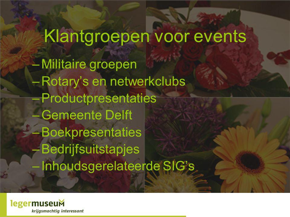 Klantgroepen voor events –Militaire groepen –Rotary's en netwerkclubs –Productpresentaties –Gemeente Delft –Boekpresentaties –Bedrijfsuitstapjes –Inhoudsgerelateerde SIG's