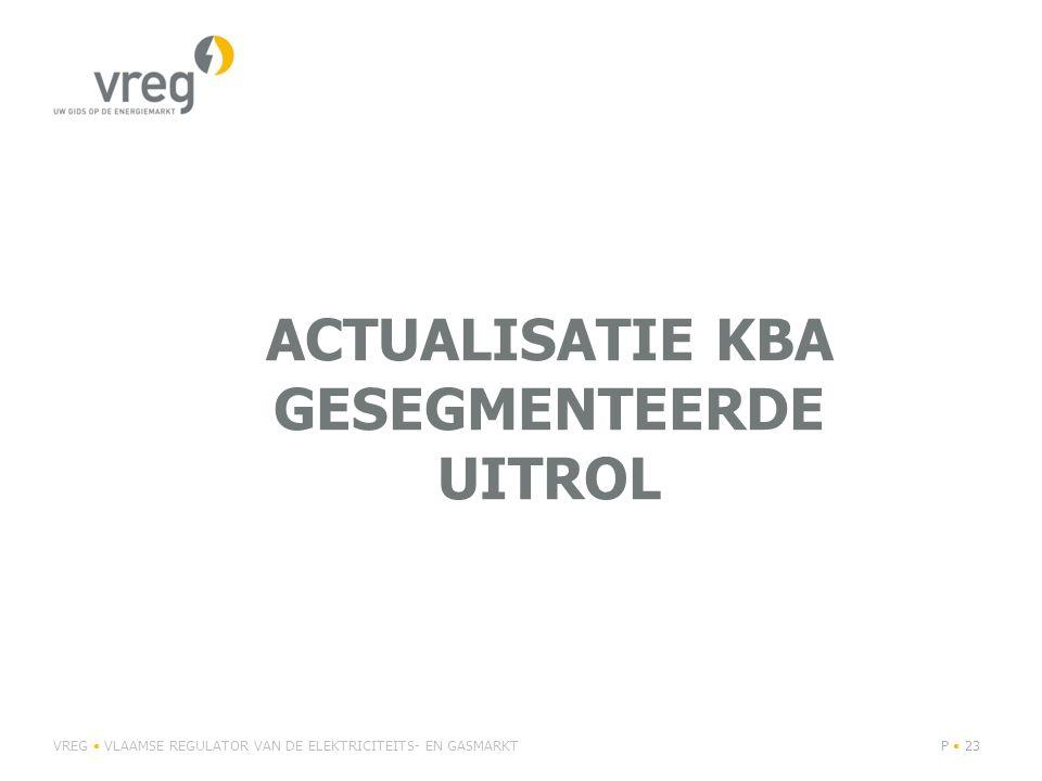 ACTUALISATIE KBA GESEGMENTEERDE UITROL VREG VLAAMSE REGULATOR VAN DE ELEKTRICITEITS- EN GASMARKTP 23
