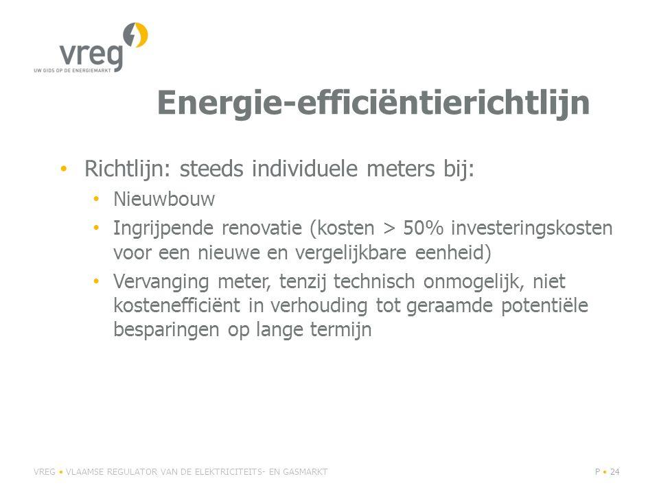 Energie-efficiëntierichtlijn Richtlijn: steeds individuele meters bij: Nieuwbouw Ingrijpende renovatie (kosten > 50% investeringskosten voor een nieuwe en vergelijkbare eenheid) Vervanging meter, tenzij technisch onmogelijk, niet kostenefficiënt in verhouding tot geraamde potentiële besparingen op lange termijn VREG VLAAMSE REGULATOR VAN DE ELEKTRICITEITS- EN GASMARKTP 24