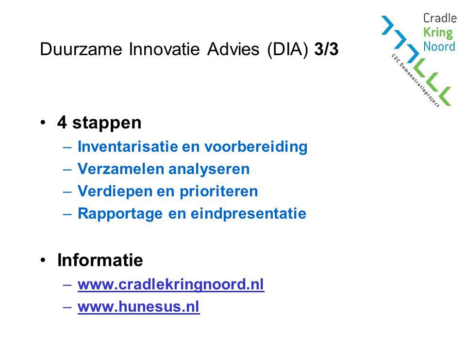 Duurzame Innovatie Advies (DIA) 3/3 4 stappen –Inventarisatie en voorbereiding –Verzamelen analyseren –Verdiepen en prioriteren –Rapportage en eindpresentatie Informatie –www.cradlekringnoord.nl –www.hunesus.nl