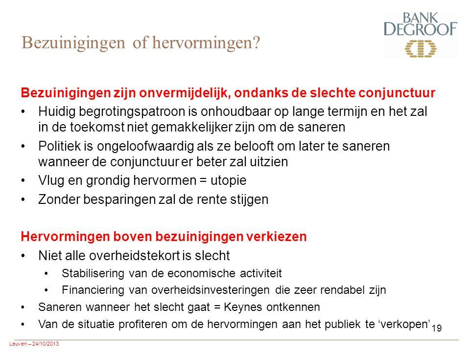 Leuven – 24/10/2013 19 Bezuinigingen zijn onvermijdelijk, ondanks de slechte conjunctuur Huidig begrotingspatroon is onhoudbaar op lange termijn en het zal in de toekomst niet gemakkelijker zijn om de saneren Politiek is ongeloofwaardig als ze belooft om later te saneren wanneer de conjunctuur er beter zal uitzien Vlug en grondig hervormen = utopie Zonder besparingen zal de rente stijgen Hervormingen boven bezuinigingen verkiezen Niet alle overheidstekort is slecht Stabilisering van de economische activiteit Financiering van overheidsinvesteringen die zeer rendabel zijn Saneren wanneer het slecht gaat = Keynes ontkennen Van de situatie profiteren om de hervormingen aan het publiek te 'verkopen' Bezuinigingen of hervormingen?
