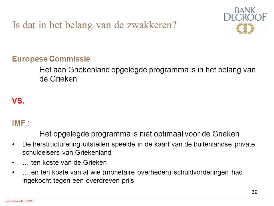 Leuven – 24/10/2013 39 Europese Commissie : Het aan Griekenland opgelegde programma is in het belang van de Grieken VS.