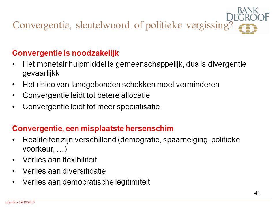 Leuven – 24/10/2013 41 Convergentie is noodzakelijk Het monetair hulpmiddel is gemeenschappelijk, dus is divergentie gevaarlijkk Het risico van landgebonden schokken moet verminderen Convergentie leidt tot betere allocatie Convergentie leidt tot meer specialisatie Convergentie, een misplaatste hersenschim Realiteiten zijn verschillend (demografie, spaarneiging, politieke voorkeur, …) Verlies aan flexibiliteit Verlies aan diversificatie Verlies aan democratische legitimiteit Convergentie, sleutelwoord of politieke vergissing?