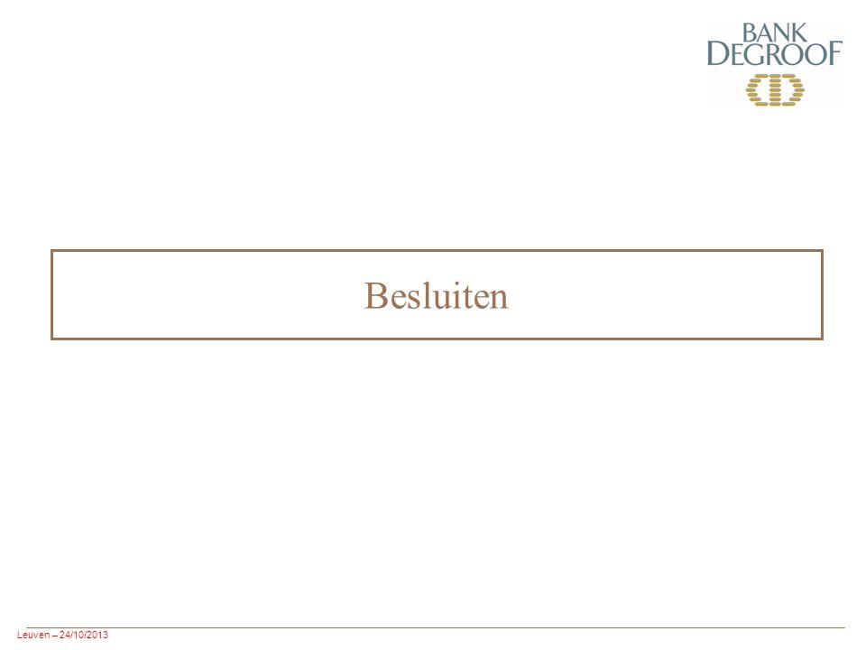 Leuven – 24/10/2013 Besluiten