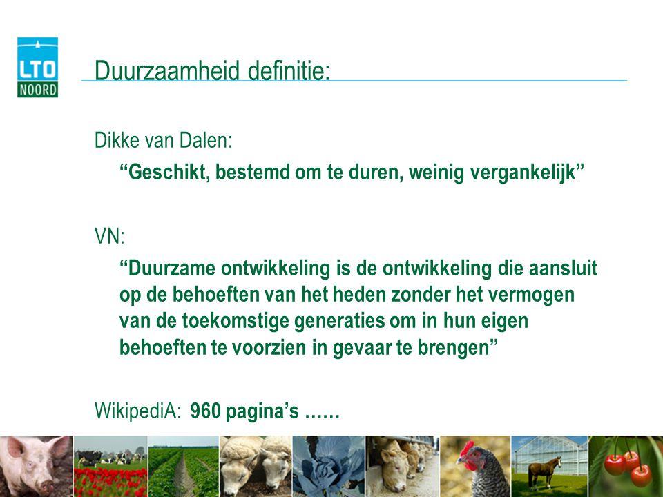 Duurzaamheid definitie: Dikke van Dalen: Geschikt, bestemd om te duren, weinig vergankelijk VN: Duurzame ontwikkeling is de ontwikkeling die aansluit op de behoeften van het heden zonder het vermogen van de toekomstige generaties om in hun eigen behoeften te voorzien in gevaar te brengen WikipediA: 960 pagina's ……