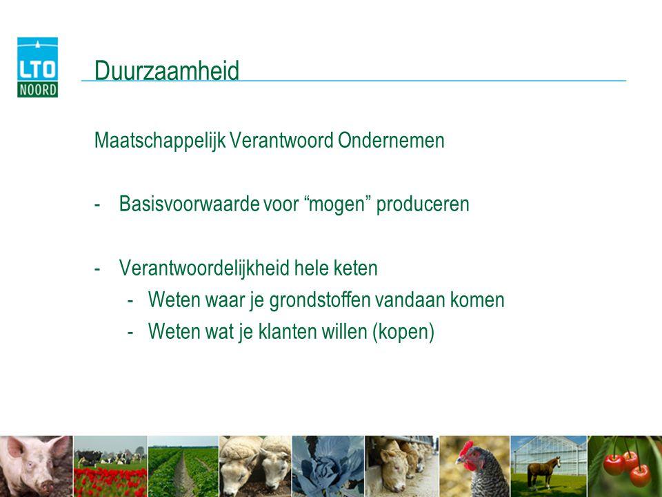 Duurzaamheid LTO zet in op alle facetten duurzaamheid -Milieu -Diergezondheid -Omgeving -GLB > 2014 -Imago…..