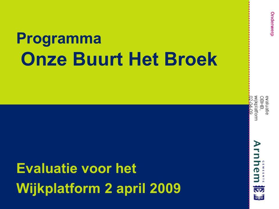 Onderwerp evaluatie OBHB, wijkplatform 02-04-09 Programma Onze Buurt Het Broek Evaluatie voor het Wijkplatform 2 april 2009