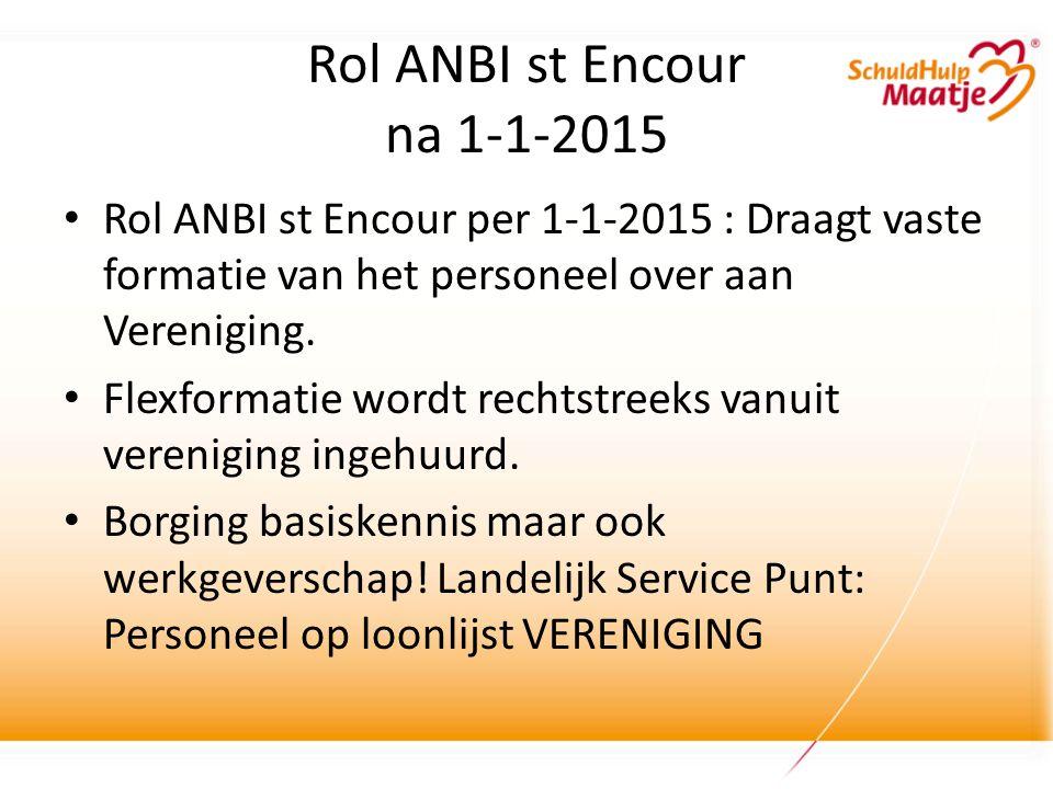 Rol ANBI st Encour na 1-1-2015 Rol ANBI st Encour per 1-1-2015 : Draagt vaste formatie van het personeel over aan Vereniging.