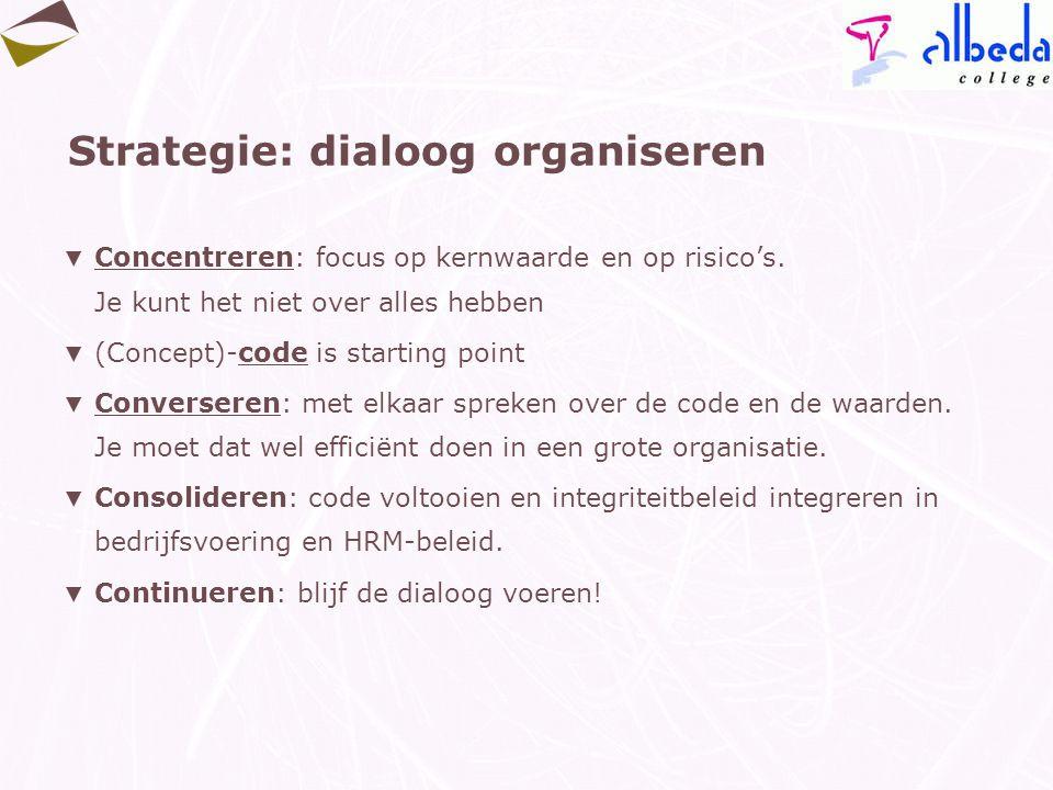 Strategie: dialoog organiseren ▼ Concentreren: focus op kernwaarde en op risico's. Je kunt het niet over alles hebben ▼ (Concept)-code is starting poi