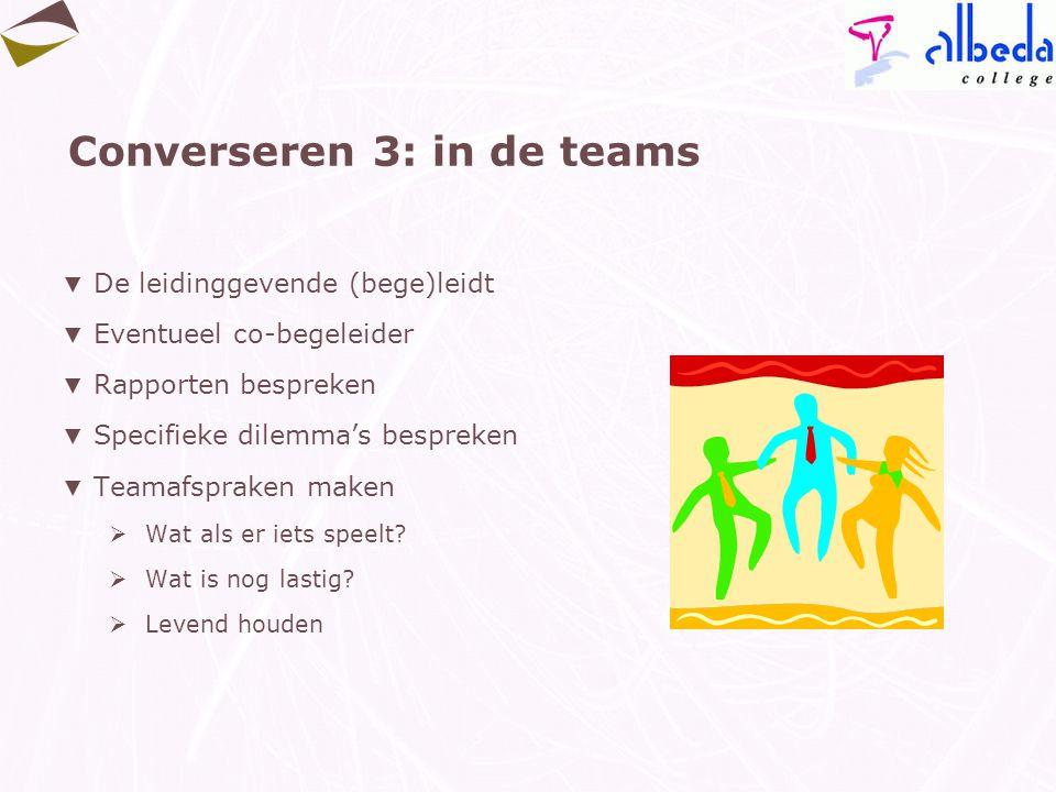 Converseren 3: in de teams ▼ De leidinggevende (bege)leidt ▼ Eventueel co-begeleider ▼ Rapporten bespreken ▼ Specifieke dilemma's bespreken ▼ Teamafsp