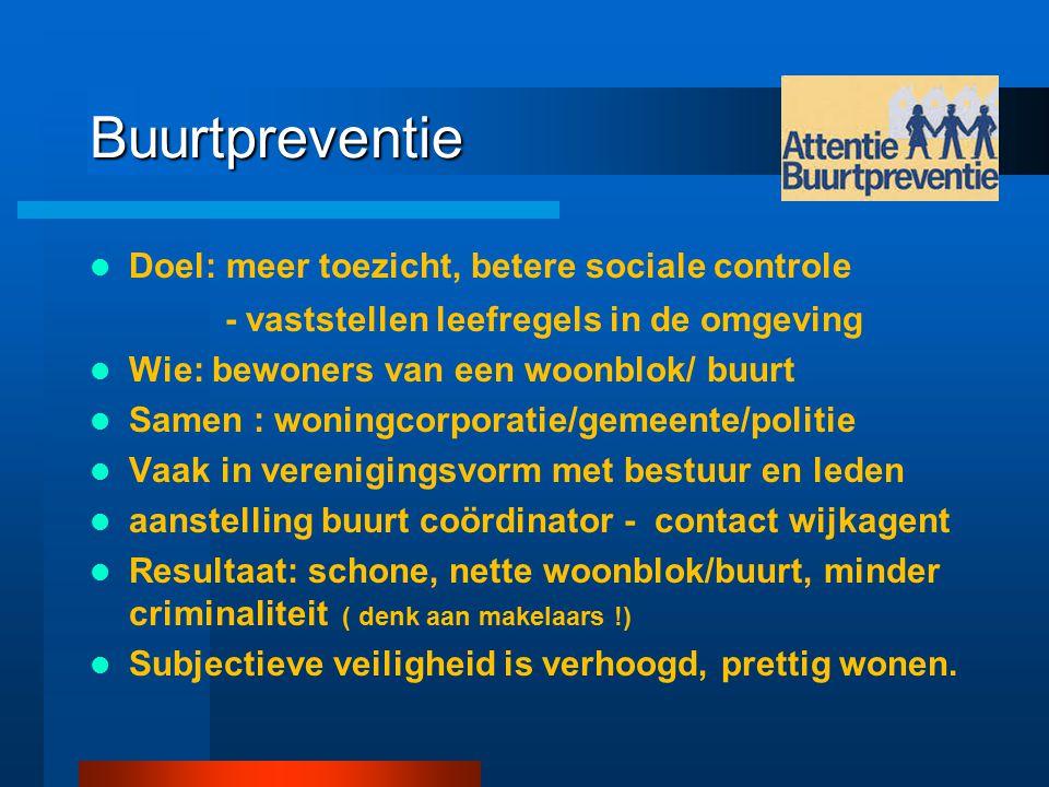 Buurtpreventie Doel: meer toezicht, betere sociale controle - vaststellen leefregels in de omgeving Wie: bewoners van een woonblok/ buurt Samen : woni