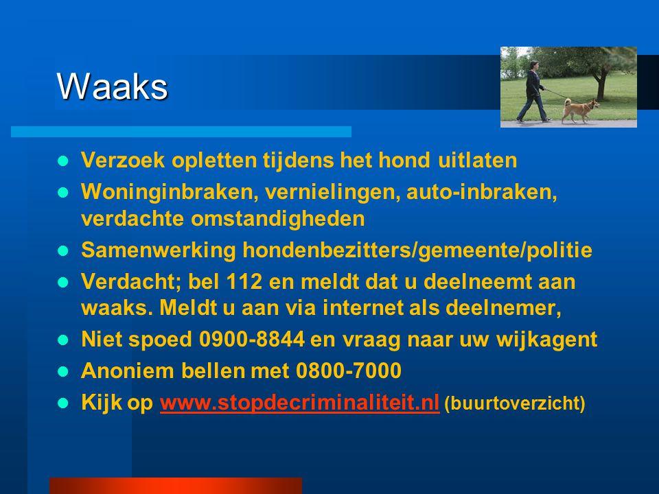 Waaks Verzoek opletten tijdens het hond uitlaten Woninginbraken, vernielingen, auto-inbraken, verdachte omstandigheden Samenwerking hondenbezitters/ge