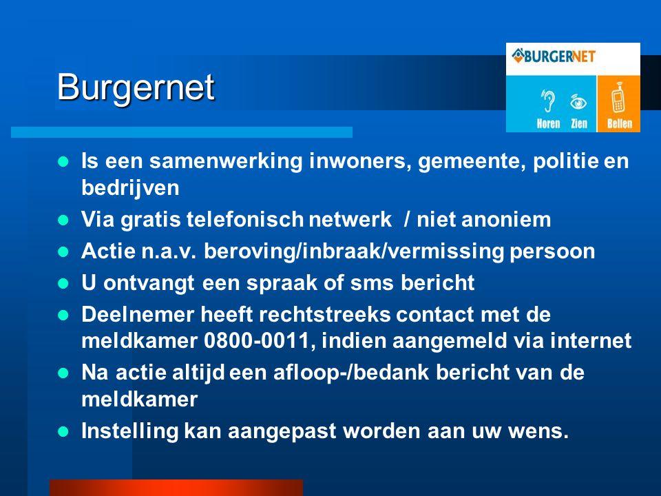 Burgernet Is een samenwerking inwoners, gemeente, politie en bedrijven Via gratis telefonisch netwerk / niet anoniem Actie n.a.v. beroving/inbraak/ver