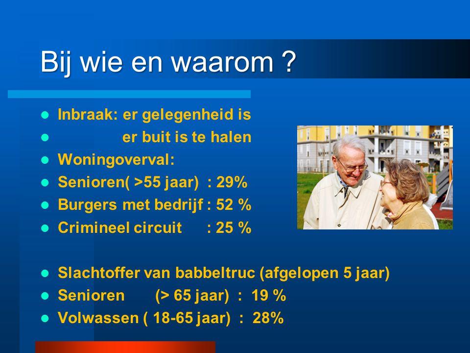 Bij wie en waarom ? Inbraak: er gelegenheid is er buit is te halen Woningoverval: Senioren( >55 jaar) : 29% Burgers met bedrijf : 52 % Crimineel circu