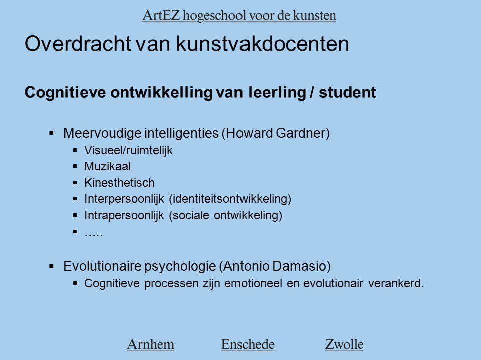 Overdracht van kunstvakdocenten Cognitieve ontwikkelling van leerling / student  Meervoudige intelligenties (Howard Gardner)  Visueel/ruimtelijk  Muzikaal  Kinesthetisch  Interpersoonlijk (identiteitsontwikkeling)  Intrapersoonlijk (sociale ontwikkeling)  …..