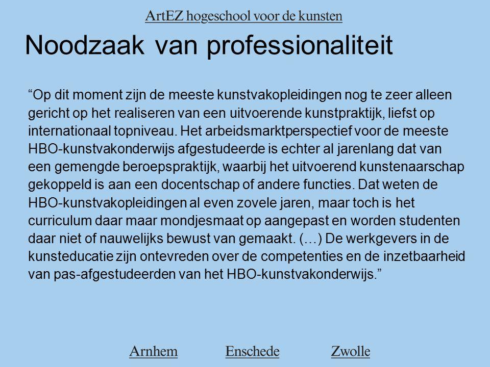 Noodzaak van professionaliteit Op dit moment zijn de meeste kunstvakopleidingen nog te zeer alleen gericht op het realiseren van een uitvoerende kunstpraktijk, liefst op internationaal topniveau.