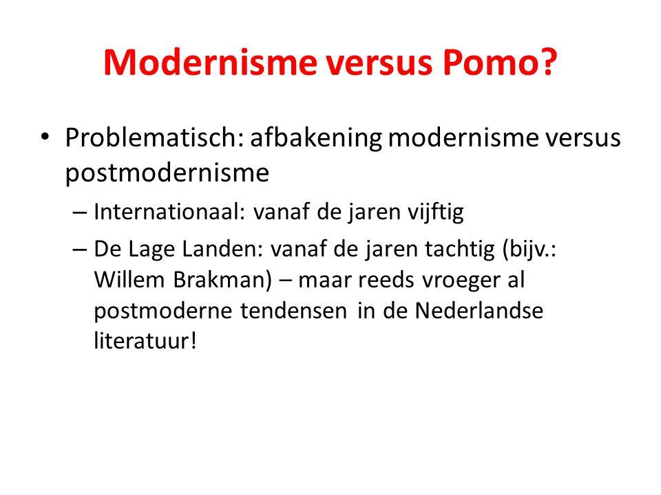 Modernisme versus Pomo? Problematisch: afbakening modernisme versus postmodernisme – Internationaal: vanaf de jaren vijftig – De Lage Landen: vanaf de