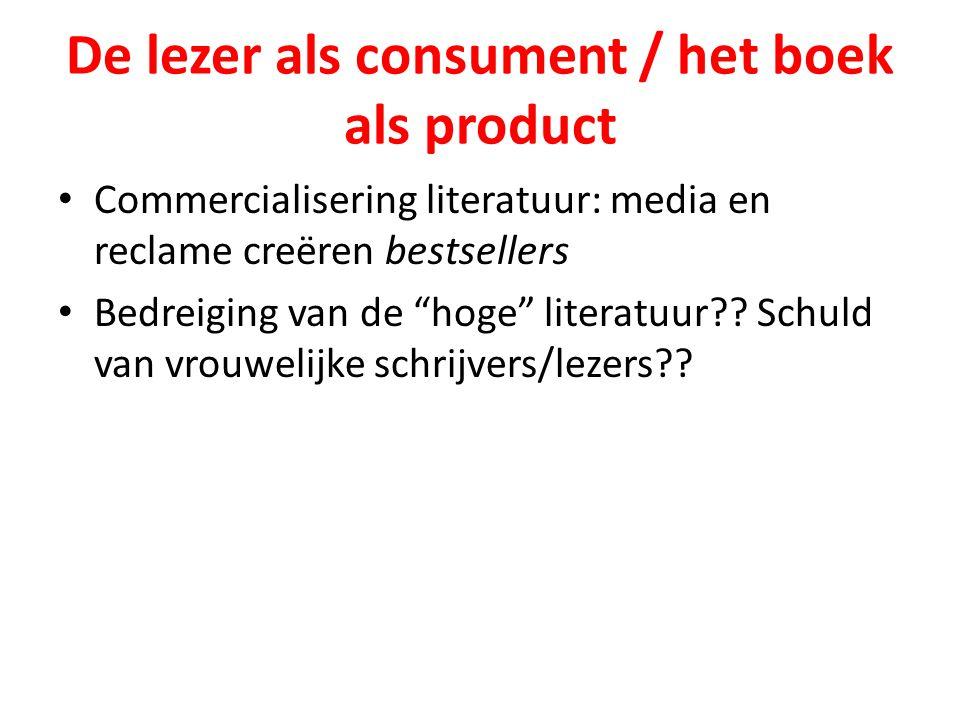 """De lezer als consument / het boek als product Commercialisering literatuur: media en reclame creëren bestsellers Bedreiging van de """"hoge"""" literatuur??"""