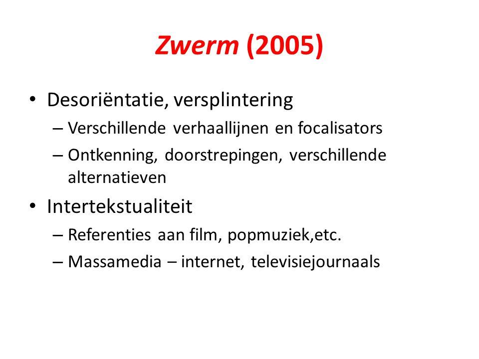 Zwerm (2005) Desoriëntatie, versplintering – Verschillende verhaallijnen en focalisators – Ontkenning, doorstrepingen, verschillende alternatieven Int