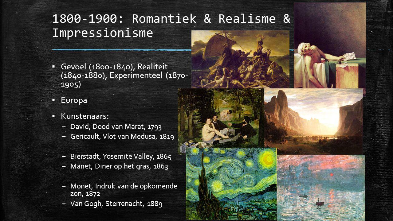 1900-1950: Expressionisme & Kubisme & Surrealisme & Abstract Expressionisme ▪ Tijd van de –ismes en gevoel ▪ Over de hele wereld in tijden van oorlogen (WOI en WOII) ▪ Kunstenaars: – Munch, De Schreeuw, 1893 – Klimt, De Kus, 1907 – Mondriaan, Nummer 1, 1921 – Picasso, Guernica, 1937 – Dali, Volharding van geheugen, 1931 – Magritte, Portret E.