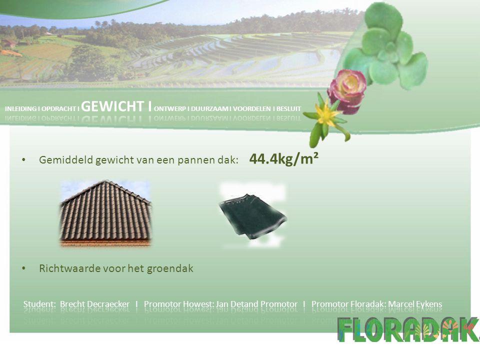 Gemiddeld gewicht van een pannen dak: 44.4kg/m² Richtwaarde voor het groendak