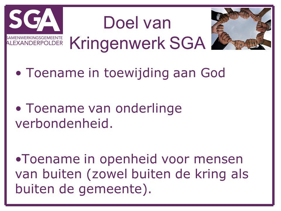 Doel van Kringenwerk SGA Toename in toewijding aan God Toename van onderlinge verbondenheid. Toename in openheid voor mensen van buiten (zowel buiten