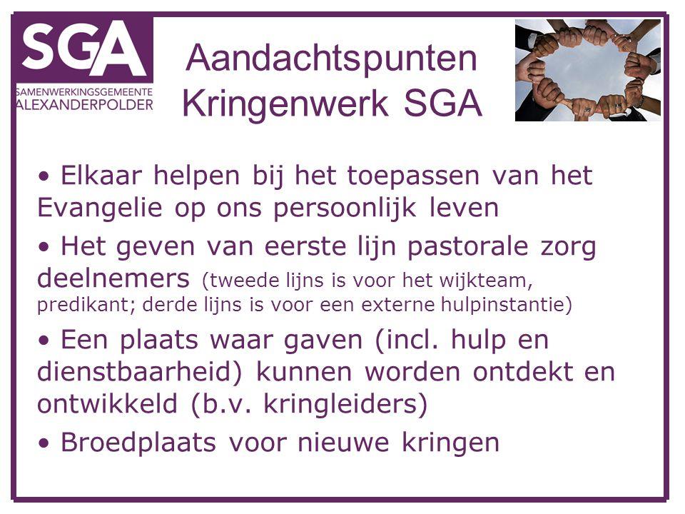 Aandachtspunten Kringenwerk SGA Elkaar helpen bij het toepassen van het Evangelie op ons persoonlijk leven Het geven van eerste lijn pastorale zorg de