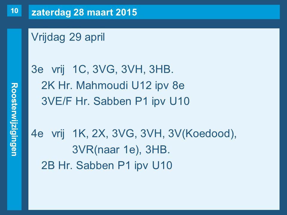 zaterdag 28 maart 2015 Roosterwijzigingen Vrijdag 29 april 3evrij1C, 3VG, 3VH, 3HB.
