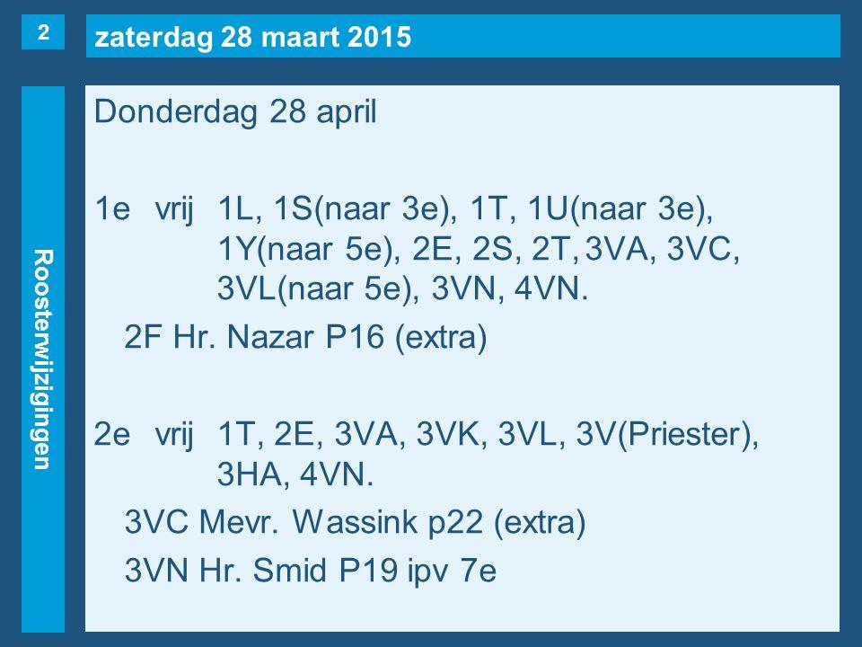 zaterdag 28 maart 2015 Roosterwijzigingen Donderdag 28 april 1evrij1L, 1S(naar 3e), 1T, 1U(naar 3e), 1Y(naar 5e), 2E, 2S, 2T,3VA, 3VC, 3VL(naar 5e), 3VN, 4VN.