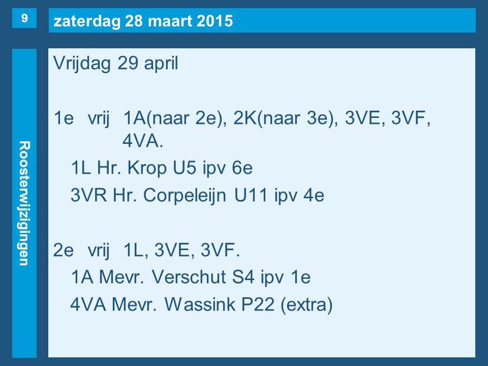 zaterdag 28 maart 2015 Roosterwijzigingen Vrijdag 29 april 1evrij1A(naar 2e), 2K(naar 3e), 3VE, 3VF, 4VA.
