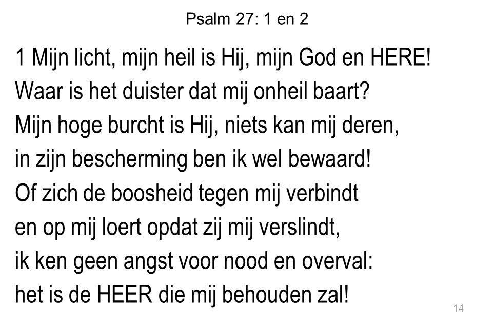 Psalm 27: 1 en 2 1 Mijn licht, mijn heil is Hij, mijn God en HERE! Waar is het duister dat mij onheil baart? Mijn hoge burcht is Hij, niets kan mij de
