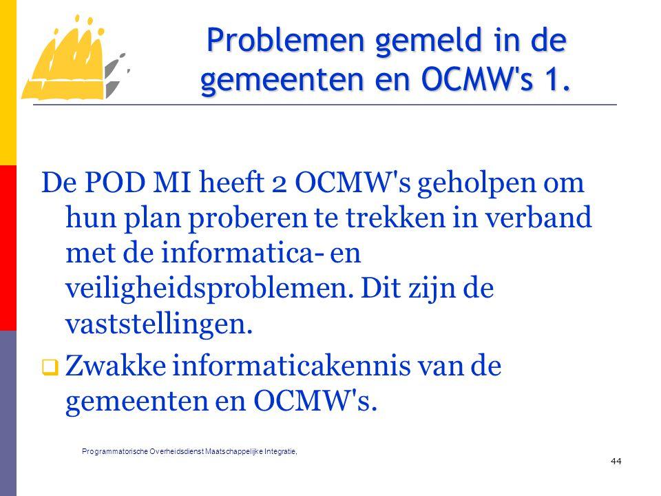 De POD MI heeft 2 OCMW s geholpen om hun plan proberen te trekken in verband met de informatica- en veiligheidsproblemen.